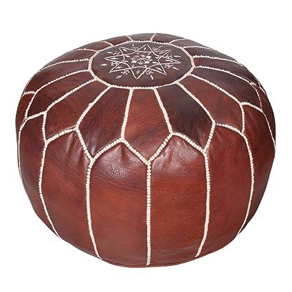 Amazoncom Moroccan Leather Pouf Handmade Leather Pouffe Luxury