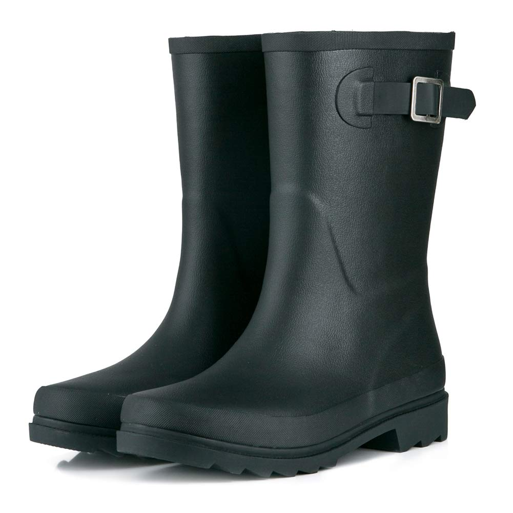 JOYCORN Women's Rain Boots Ladies Classic Waterproof Rubber Mid-Calf Wellie
