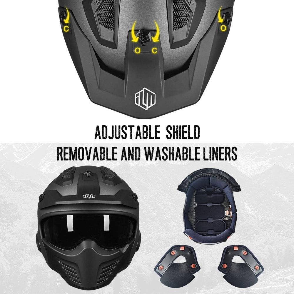 ILM Open Face Motorcycle 3//4 Half Helmet for Moped ATV Cruiser Scooter DOT