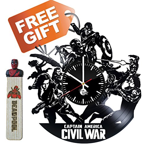 Captain America Civil war Spider-man Handmade Vinyl Record Wall Clock Fun gif... Captain America Vinyl