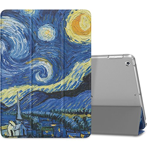MoKo Case Fit iPad 9.7 2018/2017 - Slim Lightweight Smart Shell Stand Cover with Translucent Frosted Back Protector Fit Apple iPad 9.7 Inch (iPad 5, iPad 6), Starry Night (Auto Wake/Sleep)