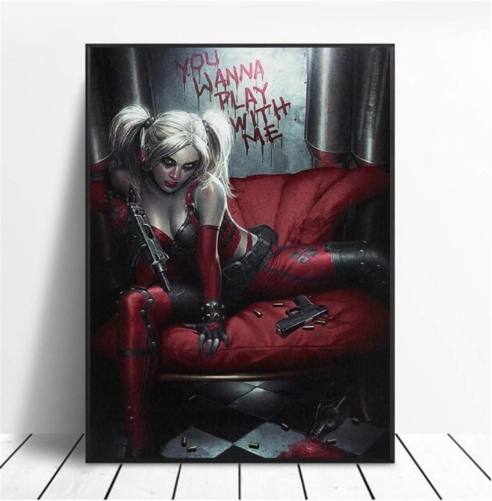 wzgsffs Harley Quinn Hot Girl Comics Leinwand Malerei Kunstdruck Poster Bild Wand Modernen Minimalistischen Schlafzimmer Wohnzimmer Dekoration-///60x90 cm Kein Rahmen