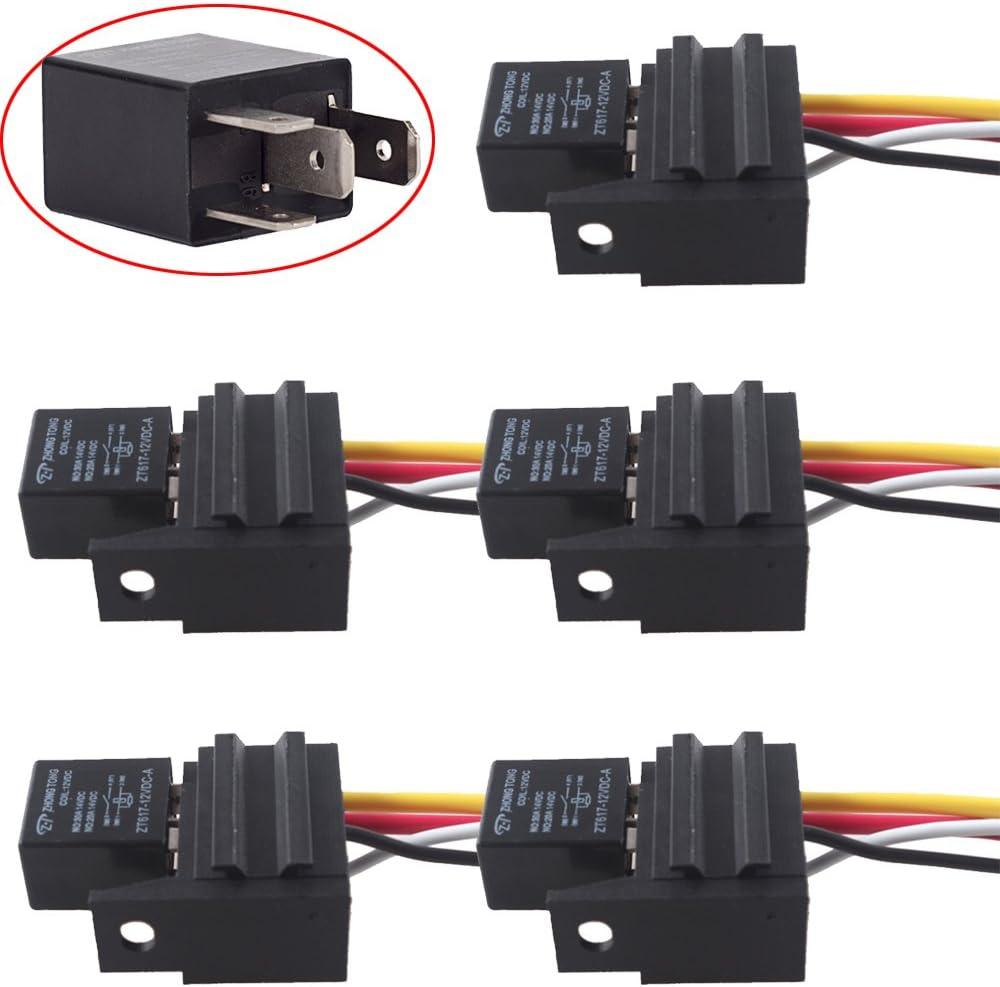 5 Pcs 5 Pin Cable Relay Socket Harness Connector Dc 12v