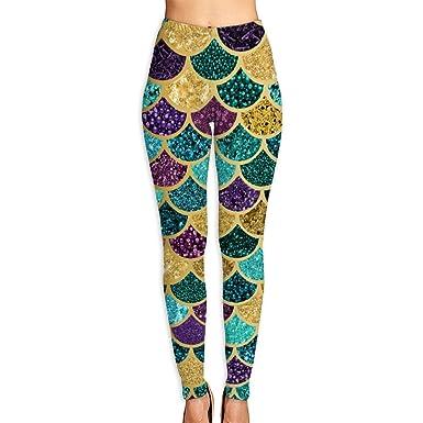 0237f4e06c Amazon.com: Glitter Mermaid Scales Women Funny Print Yoga Leggings Pants  Workout Fitness Pants Sports Gym Yoga Quick Dry Capri Leggings: Clothing