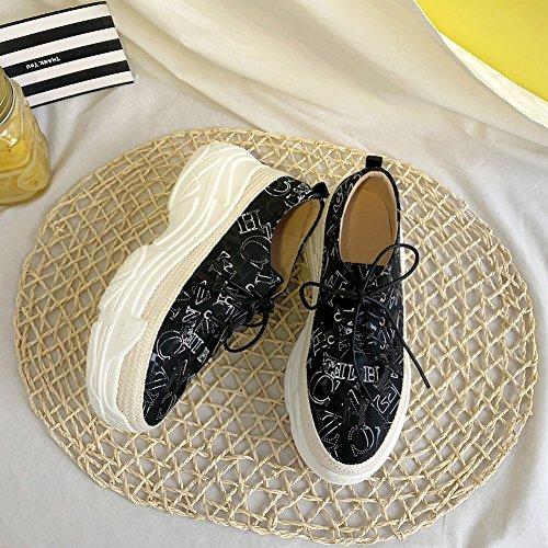 À KJJDE Chaussures Q1606 Double 36 Semelles Calicot Femme Baskets Plateformes Black WSXY À Croisées Brides H5H1qxw