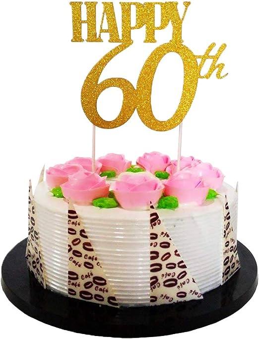 Stupendous Amazon Com El Gold Glitter Happy 60Th Birthday Cake Topper Funny Birthday Cards Online Elaedamsfinfo