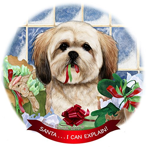Lhasa Apso Dog Porcelain Hanging Ornament Pet Gift 'Santa.. I Can Explain!' for Christmas Tree and Year Round
