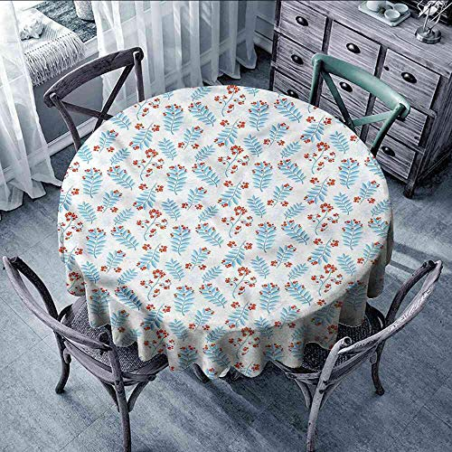 LsWOW Tablecloth Winter,Seasonal Ash Berries Tablecloth Round or Square ()