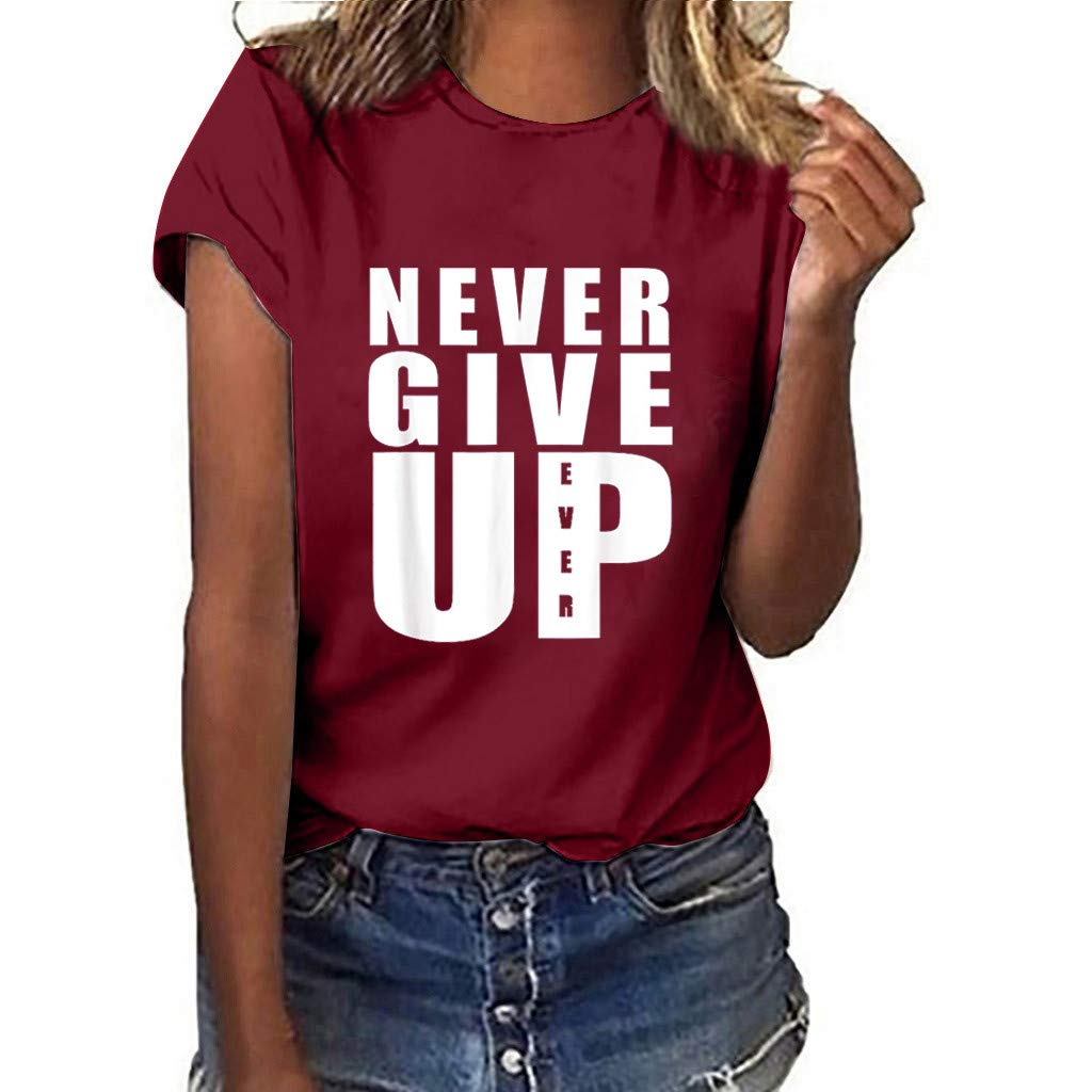 Haalife◕‿Plus Size Women Summer T-Shirt Cute Letter Print Short Sleeve Tee Top Funny Blouse Never Give Up Wine by HAALIFE Women's Clothing