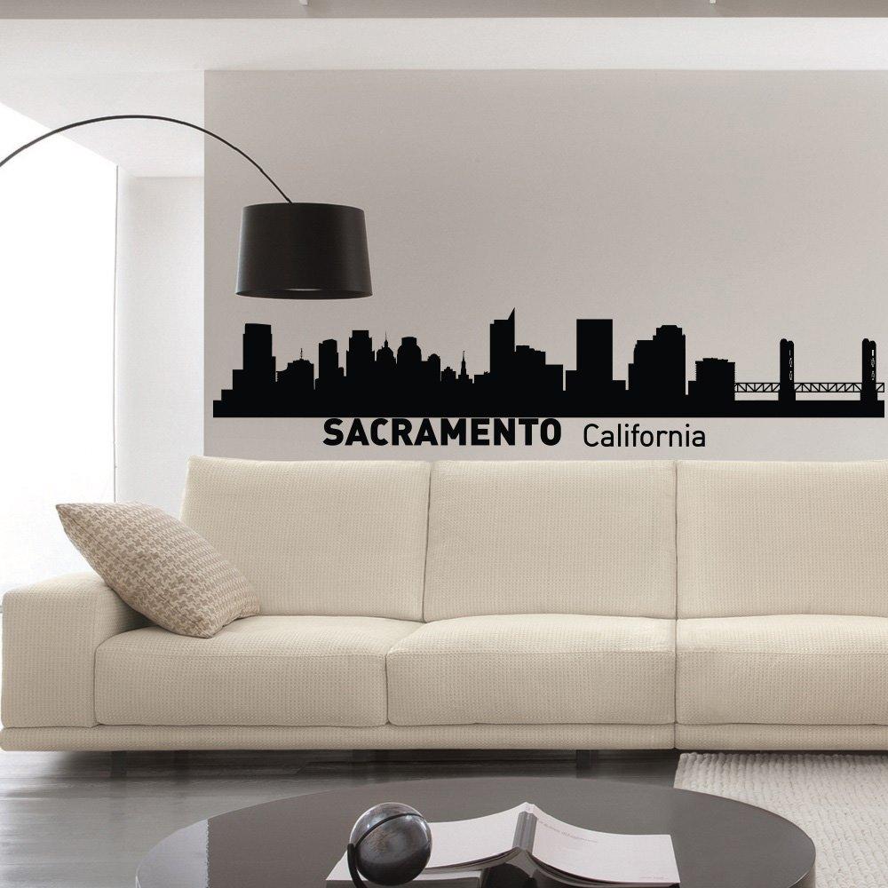 Amazon com sacramento california skyline wall decal vinyl sticker city silhouette wall decals vinyl stickers living room office bedroom decor c013 home
