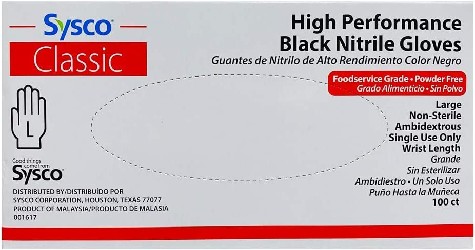 Black Nitrile Powder Free Glove Gloves 100 Count Box (Large)