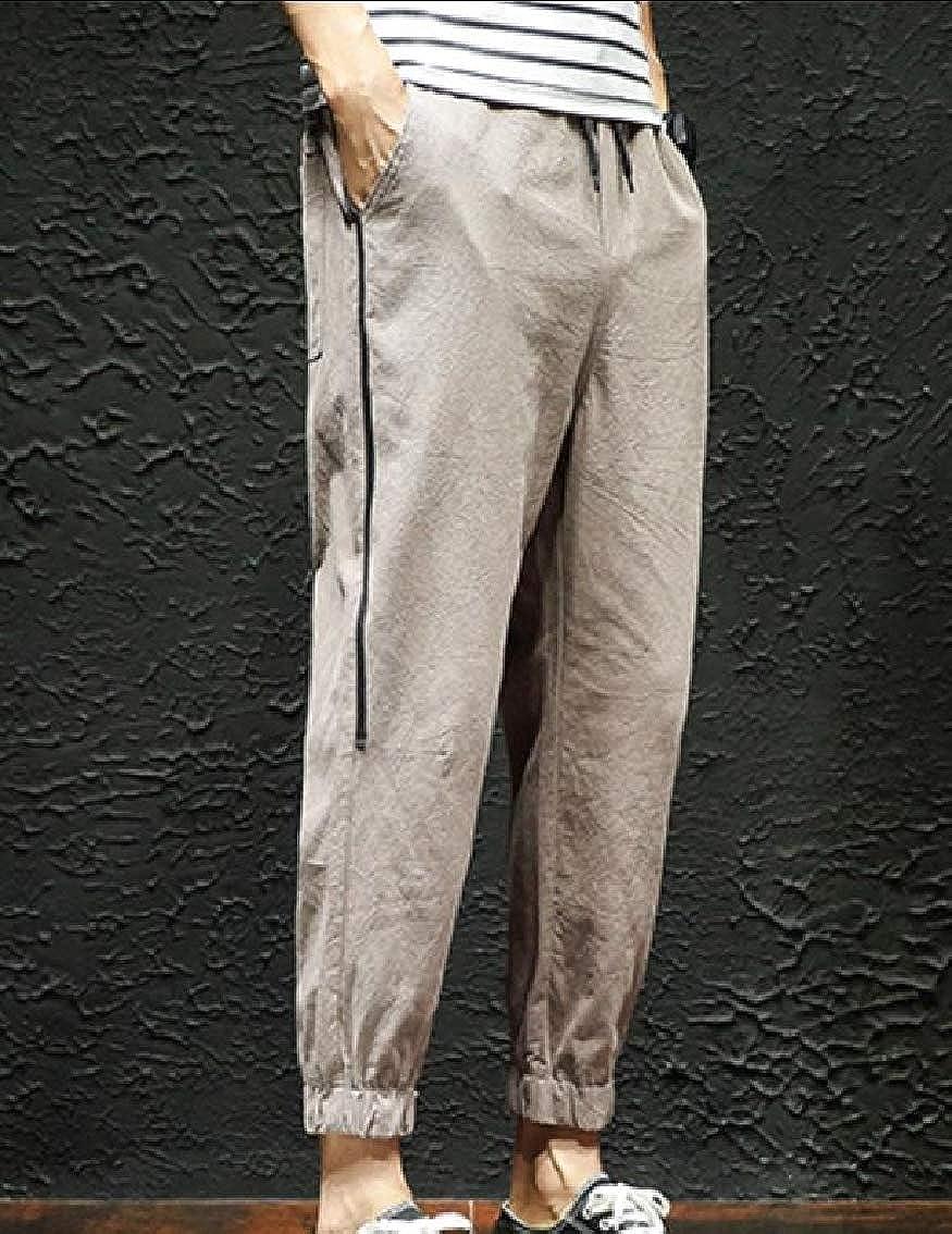 Fseason-Men Slim-Tapered Trousers Tops Pocket Linen Loose Fit Sweatpants