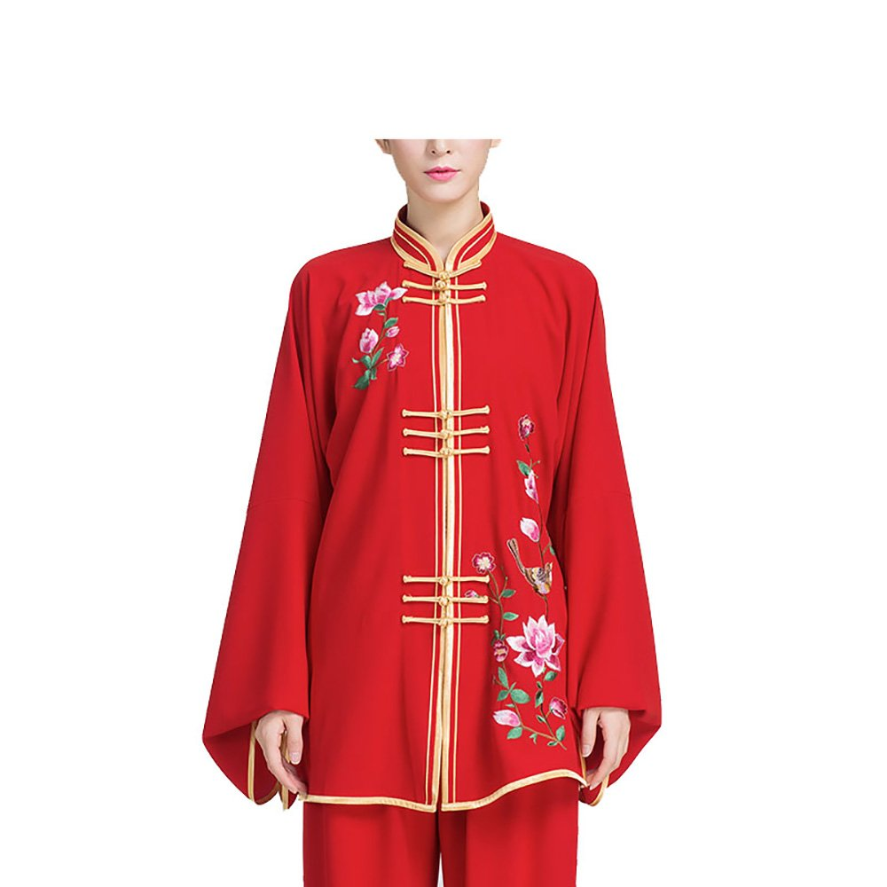 KIKIGOAL Embroidery Retro Women's Cotton Blend Chinese Traditional Tai Chi Uniforms Kung Fu Clothing Tang Suit Martial Arts Wear (M, red)