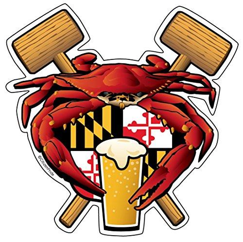 Citizen Pride Maryland Crab Feast Crest sticker decal die cut vinyl, 4.5x4.5, Made in USA ()