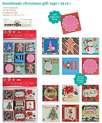 36 Assorted Handmade Self Adhesive Christmas Gift Tags. Embellished Foil Finish. 18 Holiday Designs with Tip-ons Santa Snowman Elf Ginger Bread Man Snow Flakes Stockings Holly Xmas Tree