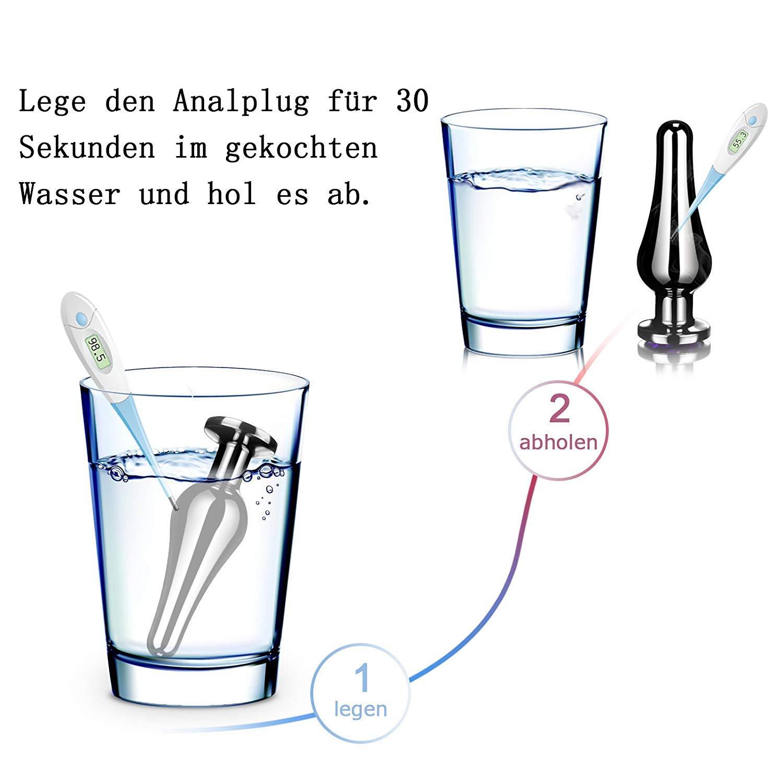 Analplug Set Metall Buttplug Anal Butt Plug Set mit Lila Kristall (Ø30 mm, Ø32 mm & Ø40 mm)