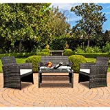 TANGKULA 4 PCS Patio Conversation Set Outdoor Poolside Balcony Wicker PE Rattan Sectional Sofa Set Wicker Furniture Set
