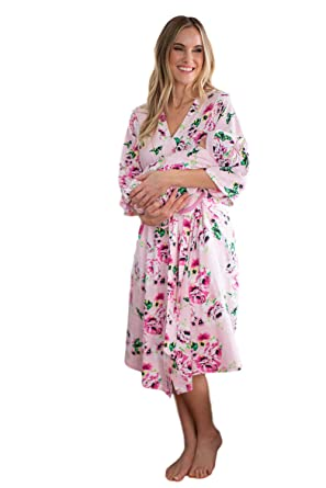 f73018faf5 Amazon.com  Matching Maternity Delivery Robe with Baby Swaddle Set ...
