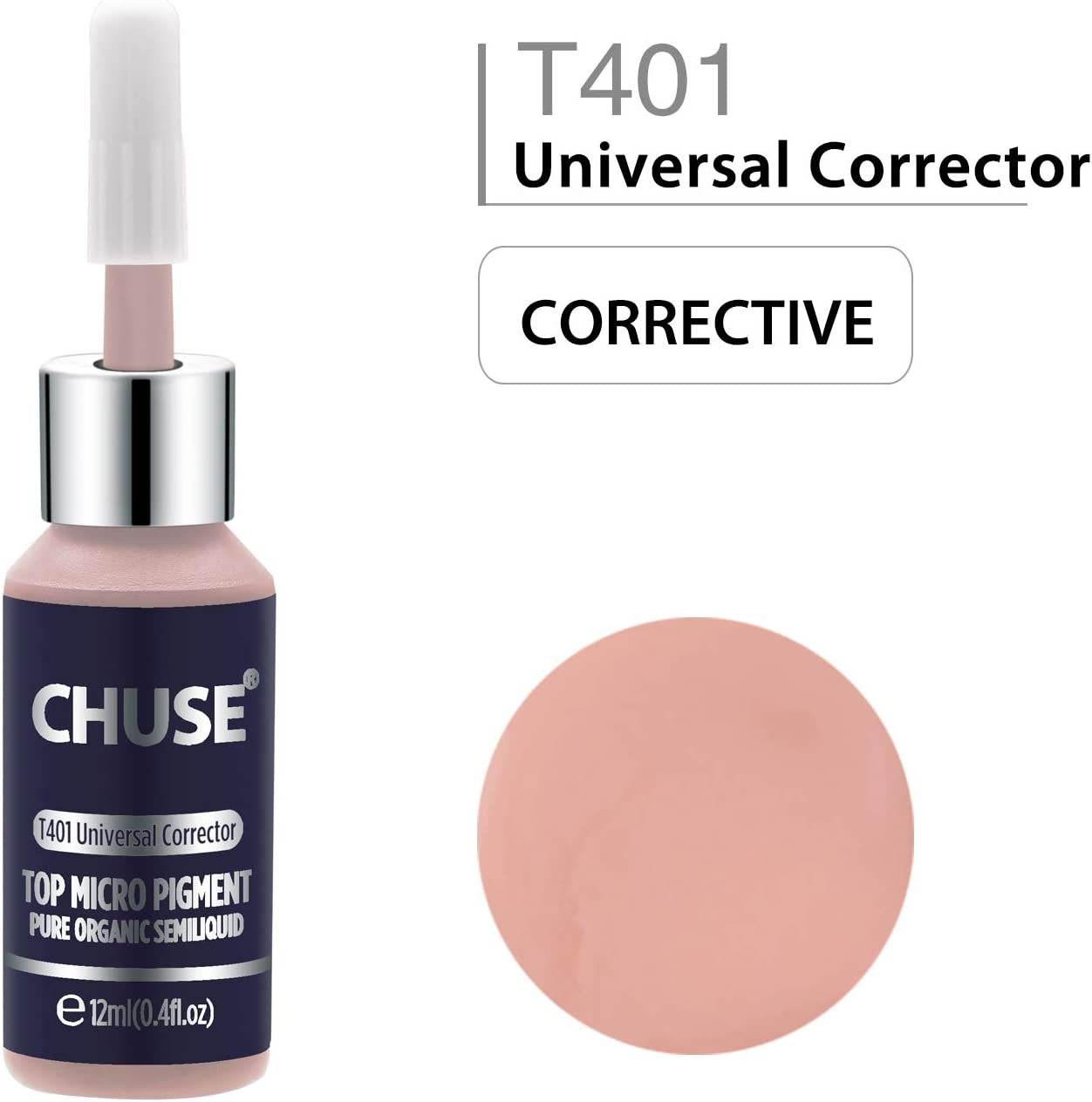 CHUSE T401, 12ml, Universal Corrector, Passed SGS,DermaTest Top Micro Pigment Cosmetic Color Permanent Makeup Tattoo Ink