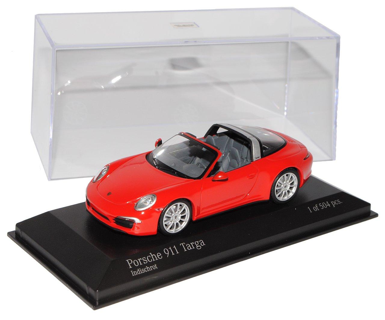 Minichamps Porsche 911 991 Targa Cabrio Rot Ab 2012 1/43 Modell Auto mit individiuellem Wunschkennzeichen