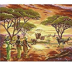 PAINTING LANDSCAPE AFRICAN NATIVE VILLAGE HUT POT FIRE SPEAR ART PRINT BB8543