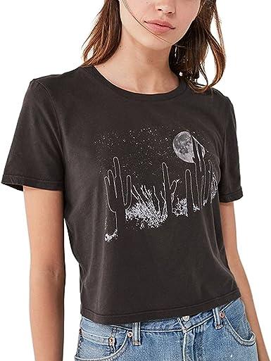 Image ofVintage Camisetas Mujer Manga Corta Negro Aesthetic Verano Moda Poleras T Shirt Tops Ropa