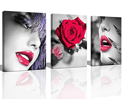. Bedroom Wall Art Wall Pictures for Living Black Red Rose Room Decor for  Women Sexy Posters Red Room Decor Lips Pretty Woman Bedroom Wall Art  Bathroom