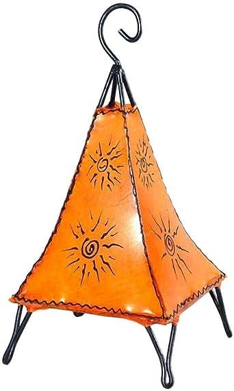 Lampe luminaire orientale marocaine, abat jour lampadaire de table ou chevet en métal et cuir Henné et différentes couleurs Pyramide soleil 40 cm