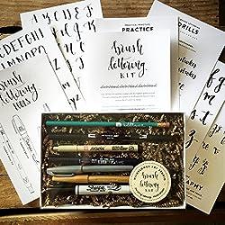Brush Lettering Kit - DIY Brush Lettering Starter Set by Wildflower Art Studio