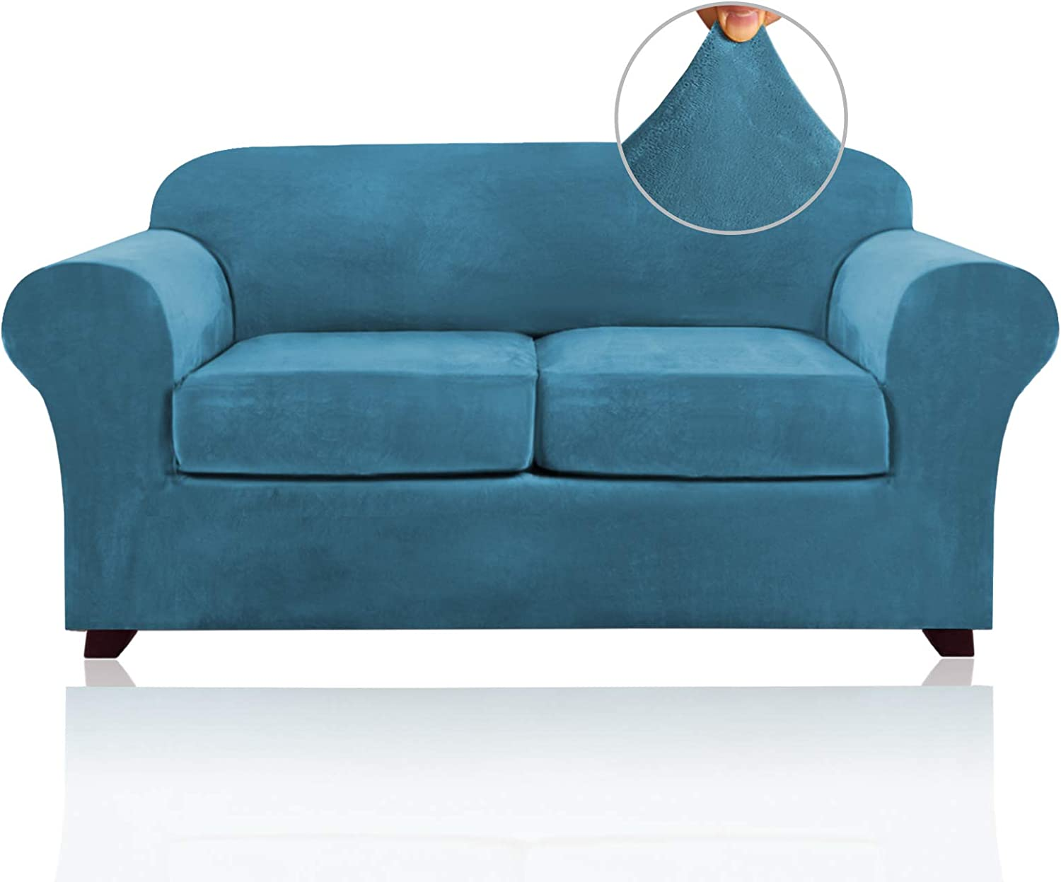 3 Pieces Sofa Covers Stretch Velvet Couch Covers for 2 Cushion Sofa Slipcovers Sofa Slip Covers with 2 Non Slip Straps Furniture Covers with 2 Individual Seat Cushion Covers (Loveseat, Blue)