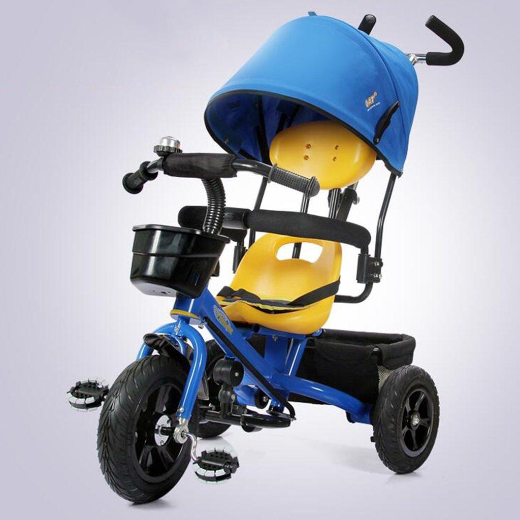HAIZHEN マウンテンバイク 子供用三輪車1-5歳調整サンシェード日焼け防止アンチUV自転車ショックアブソーバ非膨張式チタン空ホイールトローリーベビーキャリッジ 新生児 B07DL57NVV 青 青