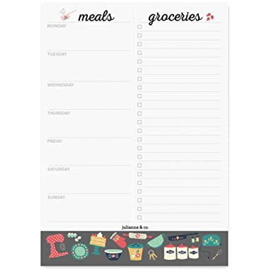 Weekly Magnetic Meal Planner Notepad by Julianne & Co. - Food Planning Organizer and Grocery List Pad, 52 Premium A5 Pages, with Tear Away Perforated Shopping List (Kitchen Print with Fridge Magnet)