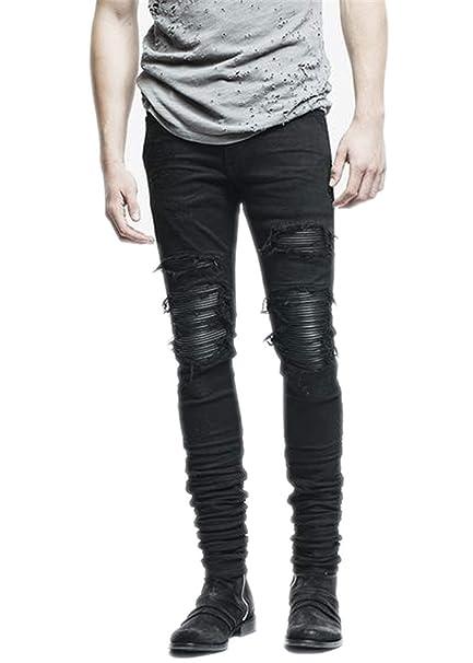 GOORSNT Pantalones de Mezclilla para Hombre Ropa Cremallera ...