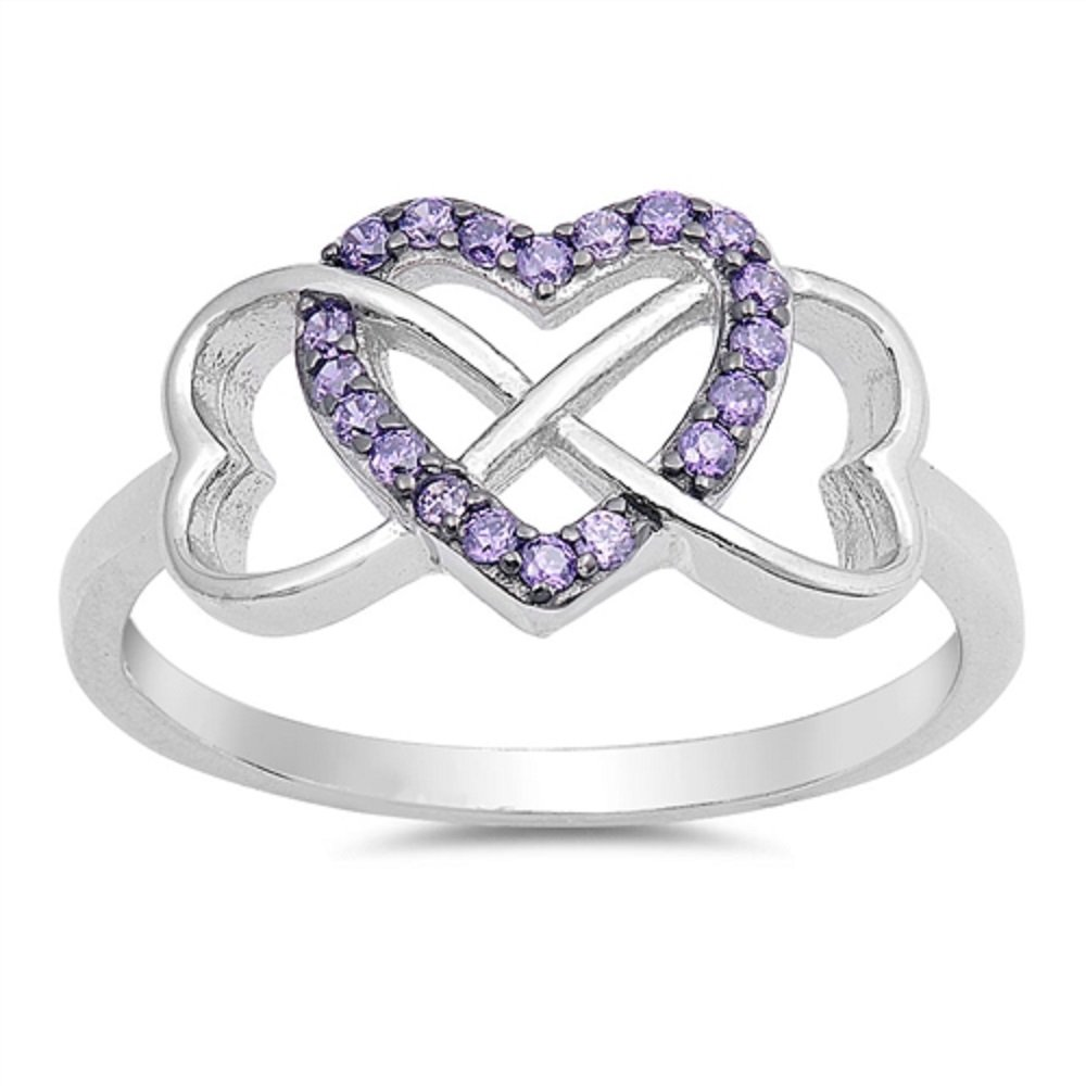 CloseoutWarehouse Simulated Amythest Cubic Zirconia Infinity Hearts Ring Sterling Silver Size 6