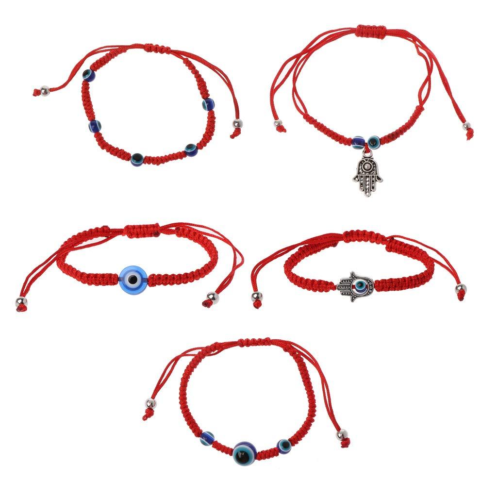 Simdoc 5Pcs Lucky Hamsa Red String Line Kabbalah Bracelets Bracelet Bangle Evil Eye Red String Bracelet Macrame Braided With Blue Lucky Eye Jewelry For Success And Protection Lucky