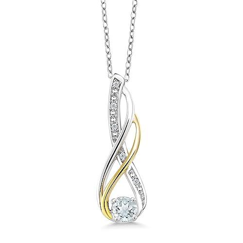 Gem Stone King 2 Tone 10K Yellow Gold And 925 Sterling Silver Diamond Infinity Pendant 0.26 Ct Round Sky Blue Aquamarine