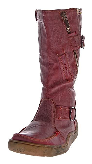 eddbbb9e3d16 TMA Damen echt Leder Winter Stiefel Boots Schuhe flach warm gefüttert Used  Look 3949 Rot Gr