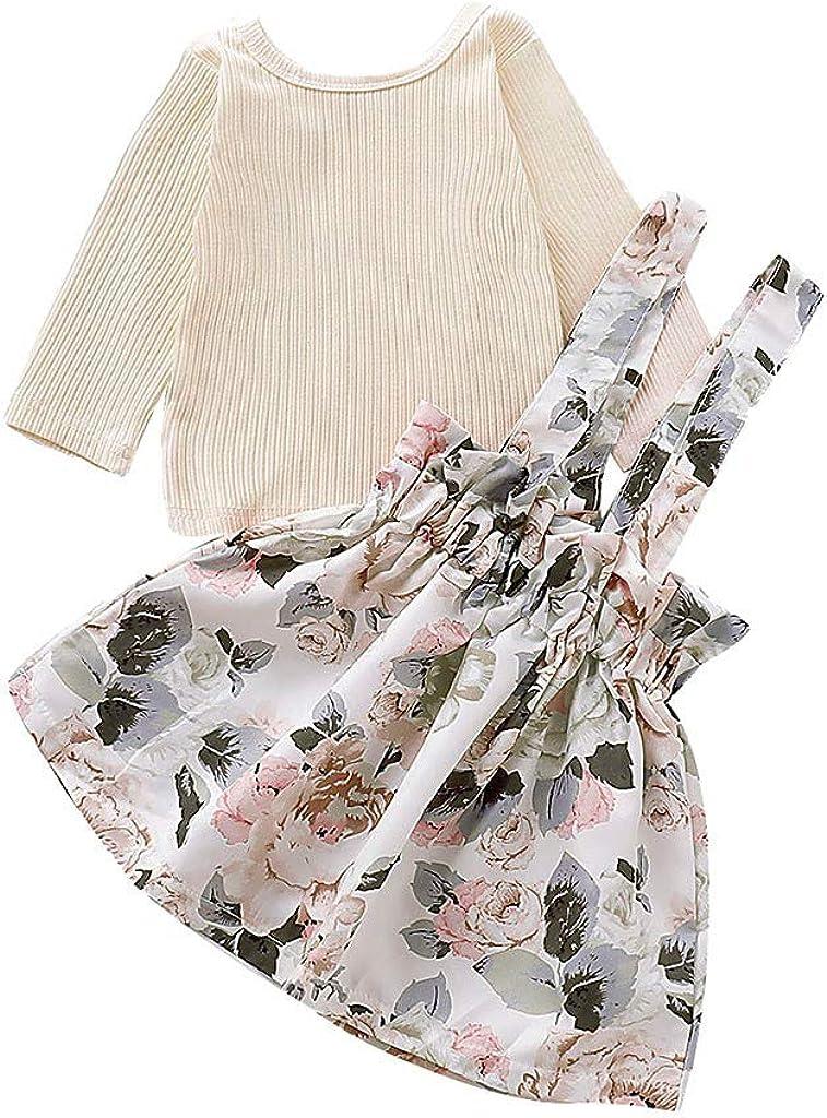 Blumendruck Strap Rock Set 2 St/ück Herbst Prinzessin Kleidung S/ü/ß Elegant 0.5-4 Jahre WEXCV S/äuglings Baby M/ädchen Kleidung Set Langarmshirts