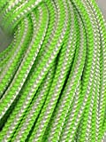 7/16'', 12-Strand Polyester Rope, Green and White (200 feet)