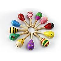 MUROAD 4 piezas Maracas de madera Juguetes educativos musicales para niños, juguetes de madera sonajero shakers musical…