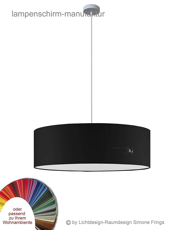 Pendelleuchte Durchmesser 70 cm mit Stoff Lampenschirm schwarz oder viele andere Farben 1 x E27 Textilkabel-L/änge 200 cm wei/ß Diffuser Blendschutz
