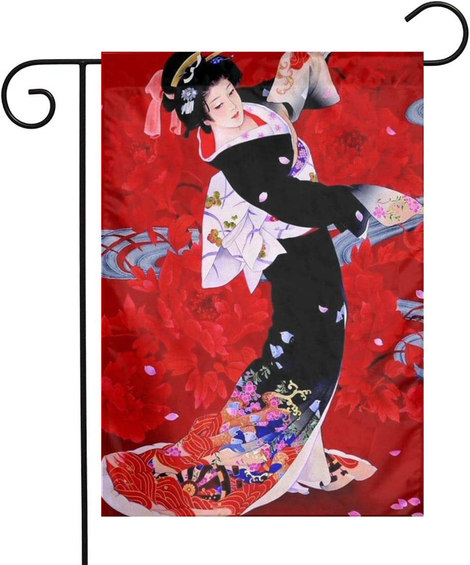 Red Flowers Dancing Japanese Women Garden Flags Home Indoor & Outdoor Welcome Decorations,Waterproof Polyester Yard Decorative for Game Family Party Banner