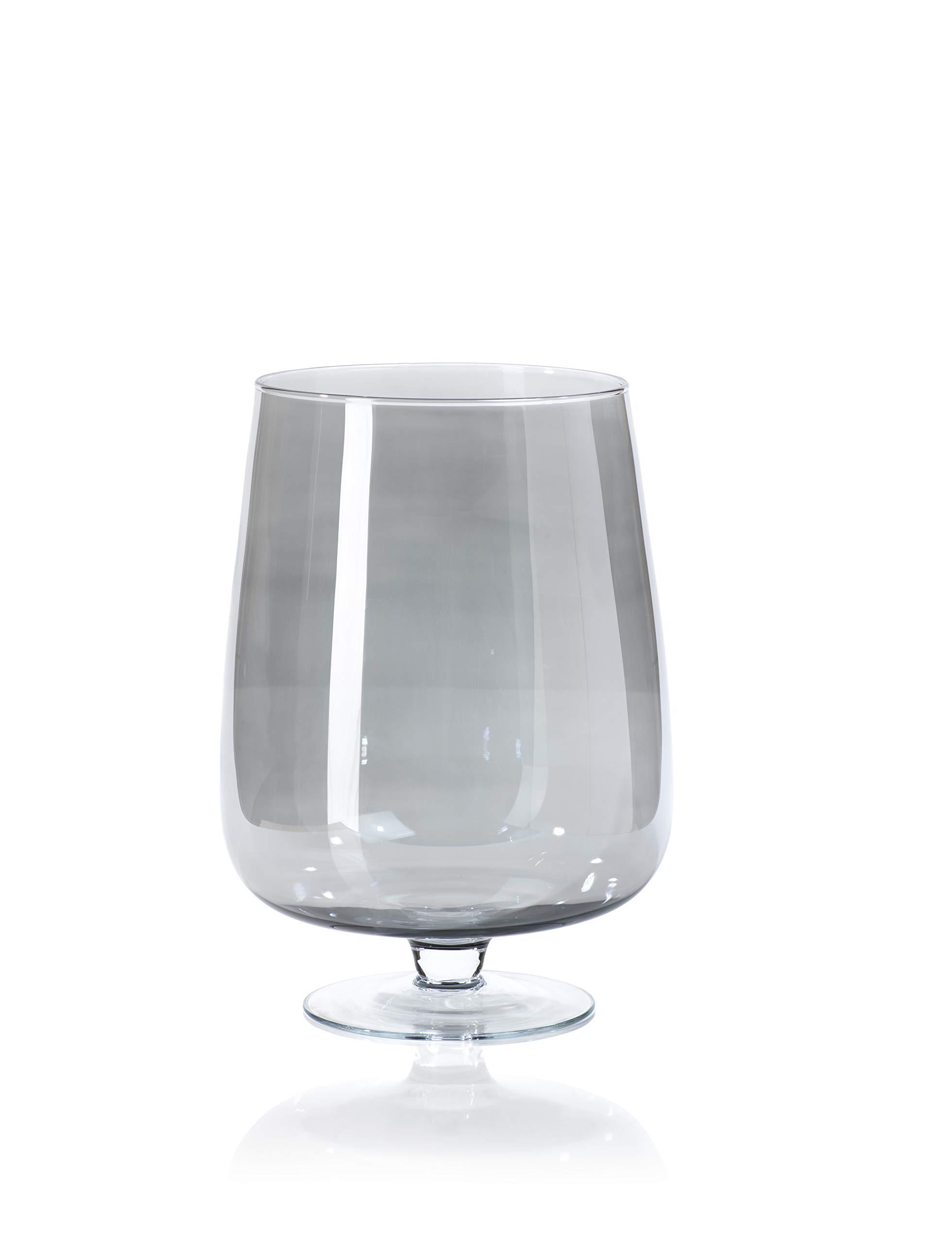 Zodax Shama Black Luster Glass Candle Holder, Large Hurricane, Gray
