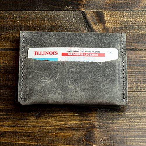 Fold Leather Bi Distressed (Pegai Modern Minimalist Credit Card Wallet, Distressed Leather Bifold Card Wallet - Champaign Rock Grey)