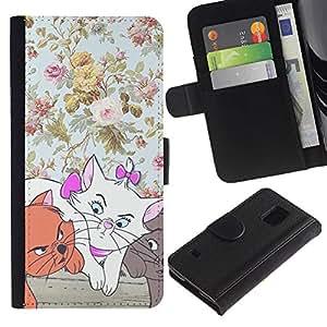 KLONGSHOP / Tirón de la caja Cartera de cuero con ranuras para tarjetas - Wallpaper Cartoon Cat - Samsung Galaxy S5 V SM-G900