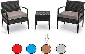 PROHIKER 3 PCS Patio Rattan Conversation Chair Set, 3 PCS Patio Wicker Rattan Furniture Set, Patio Wicker Rattan Table