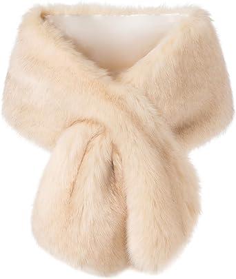 Womens Ladies Soft Faux Fur Vintage Scarf Collar Winter Warm Wrap Stole Shawl