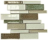 Green, White and Brown Glossy Crackle Crystal Mosaic Tiles Z Pattern for Bathroom and Kitchen Walls Kitchen Backsplashes