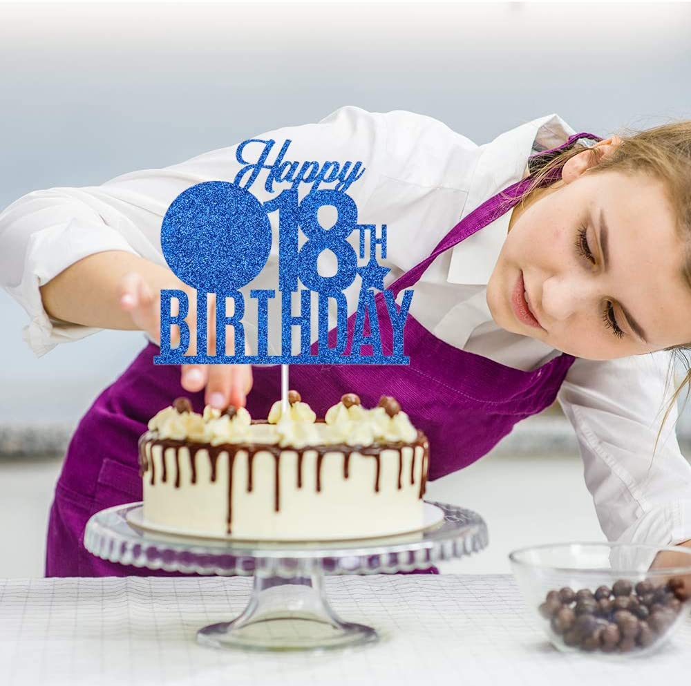 Royal Blue Dill-Dall Happy 18th Birthday Cake Topper Funny Eighteen Years Old Cake Topper 18th Birthday Party Decor 18th Birthday Party Decorations