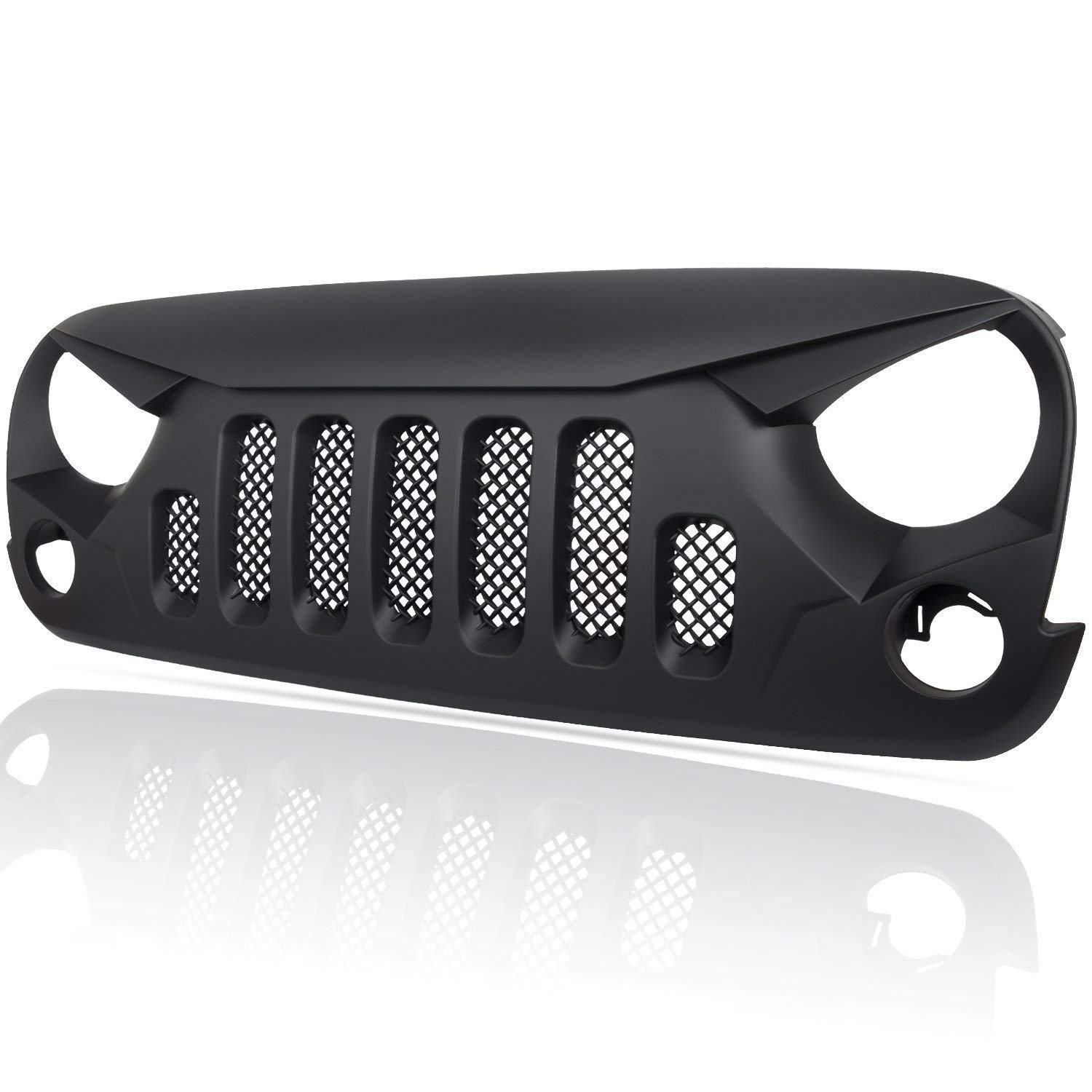 DQDZ Matte Black Angry Skull Front Gladiator Grille Grid Grill with Mesh Insert
